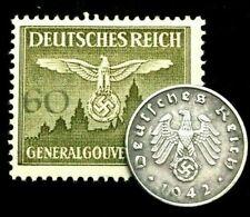 Rare Old WWII German War 1 Reichspfennig Coin & Stamp World War 2 Artifacts