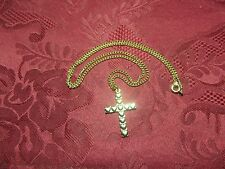 """Gold Plated Cross Charm Necklace on 18"""" Cable Chain"""