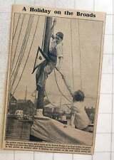 1923 Amateur Sailor Hoisting Pennant On Wherry Norfolk Broads