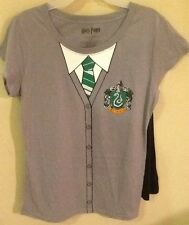 Ladies SLYTHERIN W/Cape Logo DC Comics Tee Shirt Jrs Large 11-13 Harry Potter