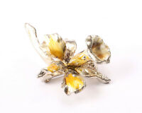 Gold Tone and Yellow Enamel Flower Brooch, Vintage 1950s