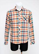 Da Uomo Scotch & Soda Camicia Casual a Maniche Lunghe 100% Cotone Arancio Taglia S Small EXC
