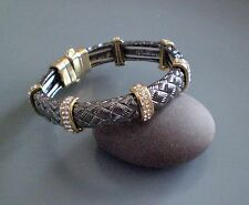 Modern Gun Metal textured Bracelet with Diamante Discs Magnetic Bracelet Bangle