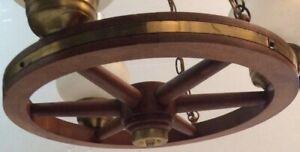 Vintage Wood/Brass Wagon Wheel Chandelier