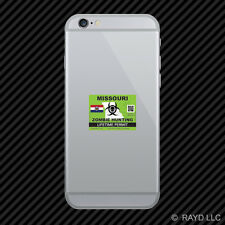 Zombie Missouri State Hunting Permit Cell Phone Sticker Mobile MO