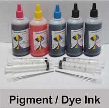 5x100ml Bulk Refill Ink for Epson Inkjet Printer Pigment Black Dye BK C M Y NY