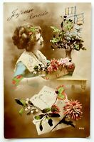 Old French postcard Joyeuse année antique divided back photo new year 1915