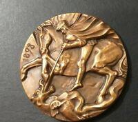 Saint George and the Dragon Italian Art Splendid bronze medal 42mm Milan