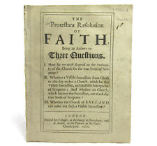 Protestant Resolution of Faith by WILLIAM SHERLOCK Anti Catholic Reign of James