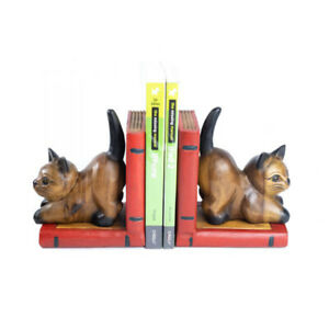 Wooden Cat Pair of Bookends Hand Carved Office Accessory Home Decor.