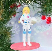 "Mattel Barbie As Astronaut Figure 2.75"" Custom Made Christmas Tree Ornament"