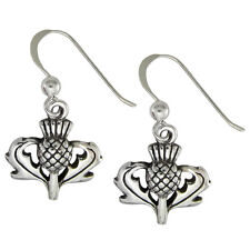 Solid Sterling Silver Large Scottish Thistle Earrings Scotland Heritage Jewelry