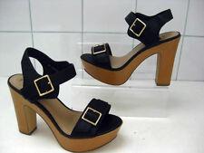 UNWORN Ladies NEW LOOK black sandals shoes high heels UK 5 wide fit platforms