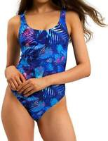 One Piece Swimwear Size 8 10 12 14 16 Blue Floral Tropical Bathers Swimsuit
