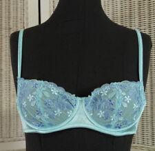 LA SENZA Demi Bra 32B 70B Blue Underwire Floral Embroidered Half Cup Brassiere