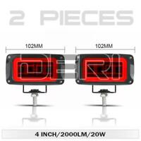 2X 4in LED Work Light Bar Red Halo Angel Eye Pods Driving Off Road Truck SUV Fog