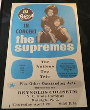1966 The Supremes Concert Handbill Flyer Raleigh Nc Diana Ross Motown Rare