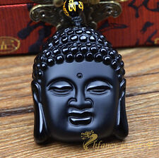 100% Natural Black Obsidian Hand Carve Buddha Head Lucky Amulet Pendant Necklace