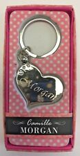 MORGAN Camille heart silver color personalized KEYCHAIN BRAND NEW IN PACKAGE