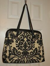 BRIGHTON Black & White Floral Canvas/Leather Shoulder Bag - GUC
