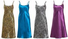 Satin Chemise Nightie Nightdress Silk Feel Ladies Nightdress Womens Floral Plain