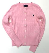 Ralph Lauren Polo Girls Sweater Size 7 Kids Small Cardigan Pink Light 01041d94d