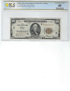 1929 $100 Federal Reserve Note FR1890-K PCGS 40 XF!!! Jones/Woods, Rare Dallas!!