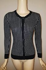 MERONA BLACK & WHITE POLKA DOT LONG SLEEVE CARDIGAN SWEATER SIZE X-SMALL XS