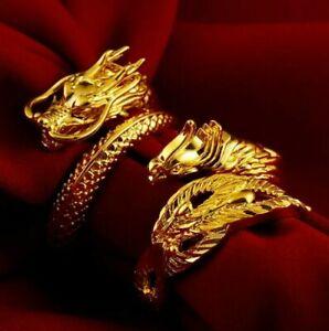 Mens Dragon and Phoenix Gold Ring