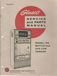 VINTAGE 1966 COCA COLA / COKE VENDING MACHINE SERVICE & PARTS MANUAL! GLASCO 140
