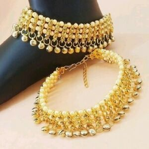 Indian Bollywood Anklet Pearl Polki Gold Tone Kundan Belly Dance Payal Jewelry