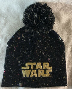 STAR WARS POM POM BLACK, GOLD AND MULTICOLORS BEANIE HAT