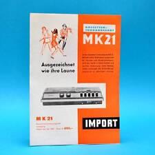 Kassettentonbandgerät MK 21 DDR 1970   Prospekt Werbung Import Ungarn UVR K