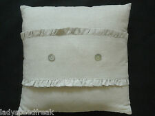 """Cream French Style Linen Frilled Cushion - Mother of Pearl Buttons 15"""" 38x38cm"""