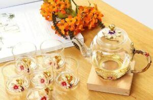 7Pcs Set Enamel Glass Flower Tea Set Heat Resistant Coffee Pot Cup Party Wedding