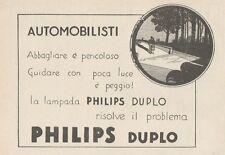 Z1648 Lampade per auto PHILIPS-DUPLO - Pubblicità d'epoca - 1930 Old advertising