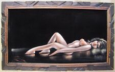 Vintage 1960s Black Velvet Nude Artwork Beauty Artist Signed Lying Pose Retro