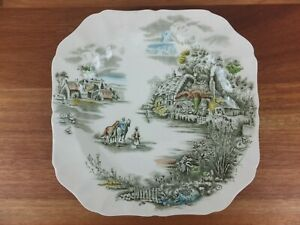 Vintage Johnson Bros HAPPY ENGLAND Serving Plate 21.5cm Country Farm Cottage