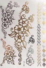Gold Silver Daisy Chains Flowers Bracelet Temporary Tattoos Bracelets Tattoo
