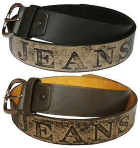 Mens Leather Belt Casual Fashion Jeans Trouser Belts - Black or Brown 32-48 Inch