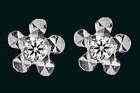 925 ECHT SILBER ***  Kleine Zirkonia Ohrstecker Blume diamantiert, 4 mm