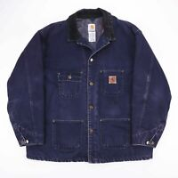 Vintage CARHARTT Navy Blue Check Lined Worker Jacket Size Mens XXL
