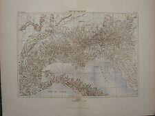 1886 ANTIQUE MAP ~ MAP OF THE ALPS SWITZERLAND MUNICH GULF OF GENOA