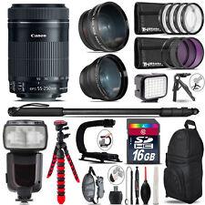 Canon 55-250mm IS STM + Pro Flash + LED Light + Tripod - 16GB Accessory Bundle