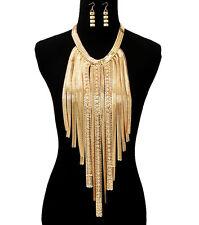Gold BLING Tassel Statement Necklace & Earrings Rhinestone MultiChain OMEGA Drop