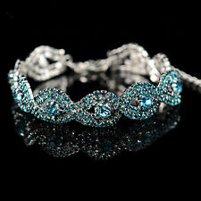 Infinity Elegant Austrian Crystal Bracelet Womens Rhinestone Chain Bangle Gift