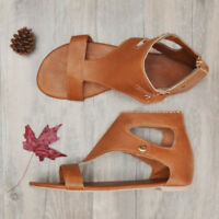 Women Gladiator Sandals Summer Casual Flat Heel Open Toe Leather Shoes Flip Flop