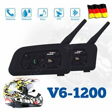 2x Motorrad Helm Sprechanlage Gegensprechanlage Intercom 1200m 6 Riders GPS DE