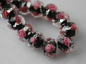 12mm 10pc Rondelle Glass Crystal Jewelry Rose Flower Inside Lampwork Loose Bead
