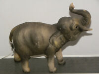Elephant Figurine Trunk Up Good Luck Plastic Made in Hong Kong Adorable-Vintage